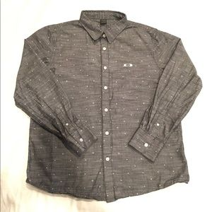 Oakley grey button down dress shirt. NWOT!